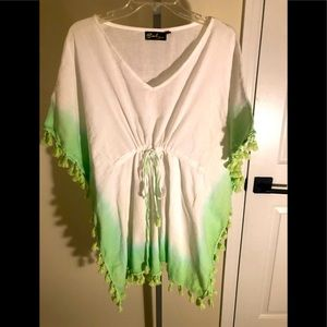 Ombré Tasseled Beach Coverup - Size XL